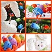 Easter collage includes whimsical still life of stuffed bunny 'painting' eggs, brightly colored east