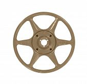 Vintage brown movie film reel isolated.