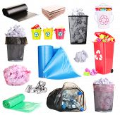 pic of dustbin  - Collage of different garbage isolated on white - JPG