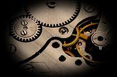 Clockwork details, pinions and wheels closeup