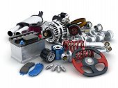 pic of accumulative  - Many auto parts on white background  - JPG