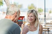 Happy Mature Couple Toasting With White Wine