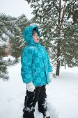The Boy In The Snowy Winter Park