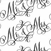 picture of cursive  - Black and white wedding seamless pattern with hand - JPG