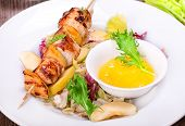 Skewers Of Grilled Chicken With Apples