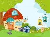 Illustration Featuring a Pet Shop Housing Different Pets