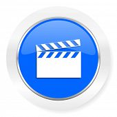 video blue glossy web icon