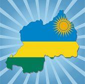 Rwanda map flag on blue sunburst illustration
