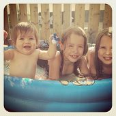 Kids in swimming pool - With Instagram effect