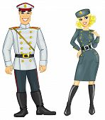 man and woman in military uniform