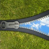 Conceptual image with opening zipper and blue sky
