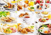 stock photo of croissant  - collage with healthy breakfast with eggs - JPG