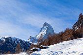 Matterhorn Mountain Of Zermatt Switzerland. Winter In Swiss Alps.  Beautiful Mountain Matterhorn