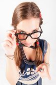 Teenager Nerdy Girl Telling Someone Off