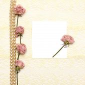 Background With Cream Silky Decoration Accessories, Lace And Pearls With Space For Your Text