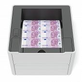Printer with euro bills