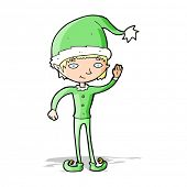 cartoon waving christmas elf