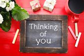 Thinking Of You Message On Chalkboard