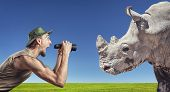 Tourist And Rhino