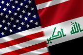 Merged Flag Of Iraq And Usa