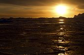 Winter Southern Ocean Near The Antarctic Peninsula In The Sunset