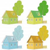 Cartoon colorful houses and trees