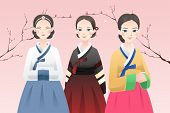 foto of hanbok  - A vector illustration of women wearing traditional Korean outfit - JPG