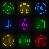 Music neon icons