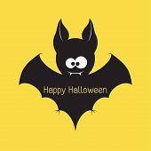 stock photo of animal teeth  - Funny Halloween vampire bat with space for text - JPG