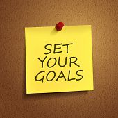 Set Your Goals Words On note