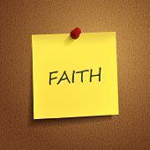 Faith Word On sticky note