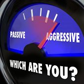 Which Are You? Passive or Aggressive words on a gauge measuring your level of boldness, determinatio