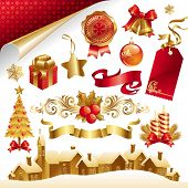 Set with Christmas symbols and objects