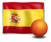 Illustration of the flag of Spain and an orange ball on a white background