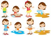 Illustration of a young girl's daily activities on a white background