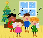 Cartoon Christmas carolers