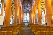 stock photo of church interior  - The interior of Church of the Holy Ghost or Heiliggeistkirche in Heidelberg Germany - JPG