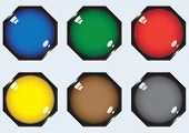 Six octagonal buttons