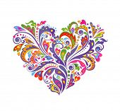 Colorful floral heart. Raster copy