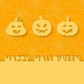 Three orange pumpkins on the background of the web. Halloween vector card