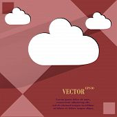 Cloud download application web icon on a flat geometric abstract background