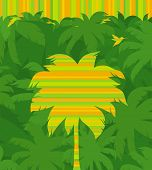 Striped tropical palm tree & flying humming-bird on a jungle forest green background