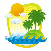 Illustration with tropical landscape - imitation of applique from color paper shapes
