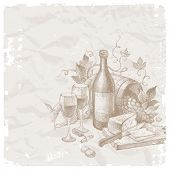 Vintage still life with wine and foods