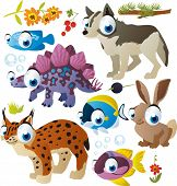 vector cartoon animals set: fish, wolf, lynx, dinosaur, hare