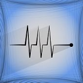 heart rhythm. Flat modern web button  on a flat geometric abstract background