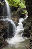 Iconic view of Rainbow Falls in Watkins Glen State Park, New York