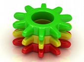 Work Concept. Green, Yellow And Red Gears