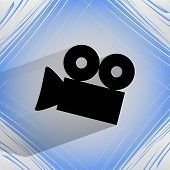 Video-camera. Flat modern web button  on a flat geometric abstract background
