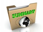 Summary Bright Green Letters On A Golden Folder